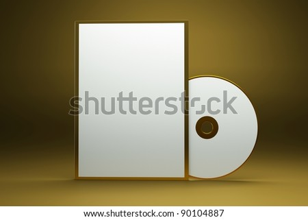 a box with cd disk on gold background as a concept of presentation of a gold album - stock photo