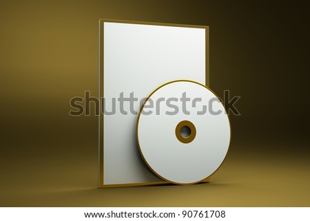 a box with cd disk on gold background as a concept of presentation of gold album - stock photo