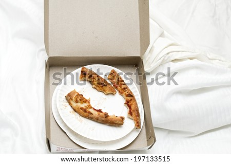 A box with pieces of pizza crust in it. - stock photo