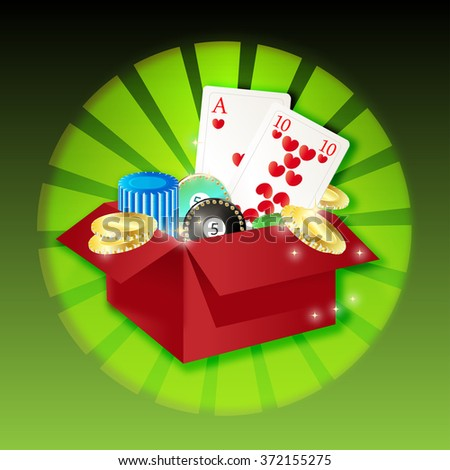 a box with playing cards, jetons and money on background