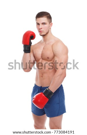 A boxer, in boxing gloves, is bending one arm at the elbow. Isolation.