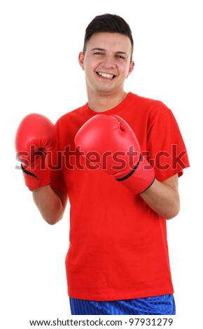 A boxer isolated on white - stock photo