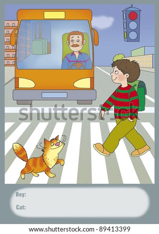 a boy and a cat cross the road - stock photo