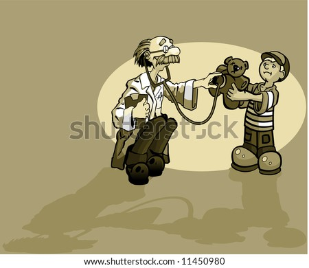 A boy and a doctor giving a teddy bear a check up. - stock photo