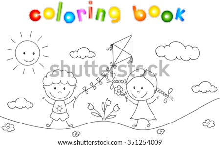 A boy and a girl playing in the meadow and launching a kite. Coloring book. illustration - stock photo