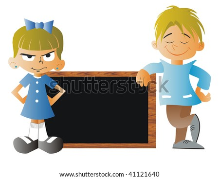 A Boy and a Girl with a blackboard at school - stock photo