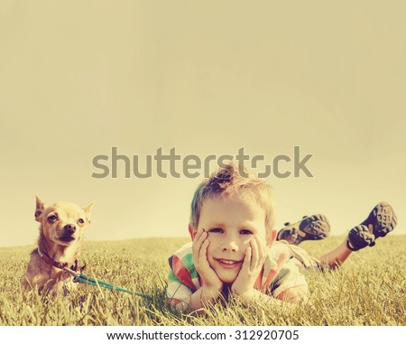 a boy and a tiny chihuahua in the grass toned with a retro vintage instagram filter app or action effect  - stock photo