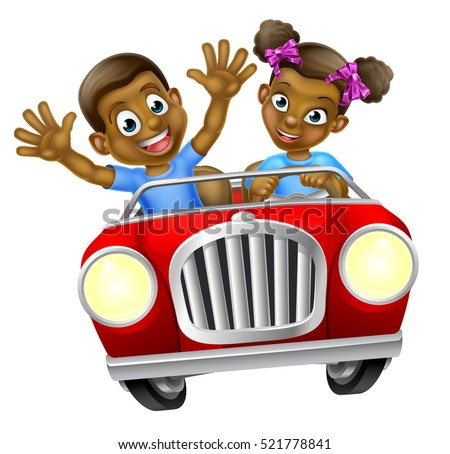 A boy and girl having fun driving fast in a car on a road trip