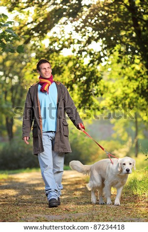 A boy and his dog (Labrador retriever) walking in the park in autumn - stock photo