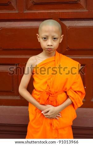 a boy as buddhist novice asia ,Thailand - stock photo