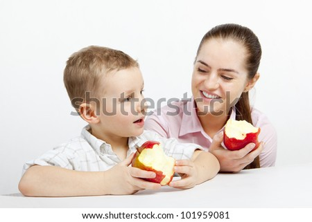 A boy converses to a woman. They are satisfied and smiling. they spend nice to time. - stock photo