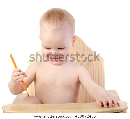 A boy draws with a pencil , isolated on white background - stock photo