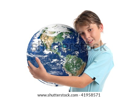 A boy embraces our beautiful planet earth.   Concept, save the planet, environmental conservation, climate change, geopolitical and other related global issues. - stock photo