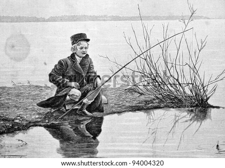 "A boy fishes. Engraving by Rashevsky from picture by painter Rashevsky. Published in magazine ""Niva"", publishing house A.F. Marx, St. Petersburg, Russia, 1893 - stock photo"