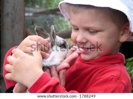 A boy holding a rabbit in his hands