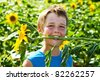 A boy holding a sunflower in his mouth in sunflowers field - stock photo