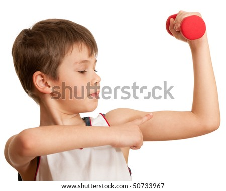 A boy is doing his morning exercises; isolated on the white background