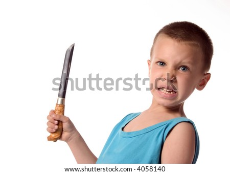 a boy is holding a knife