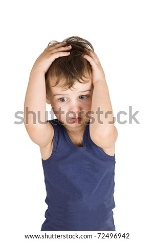 A boy is holding  hands on the head isolated on white