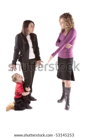 A boy is holding the leg of his mother and the boss is getting angry. - stock photo