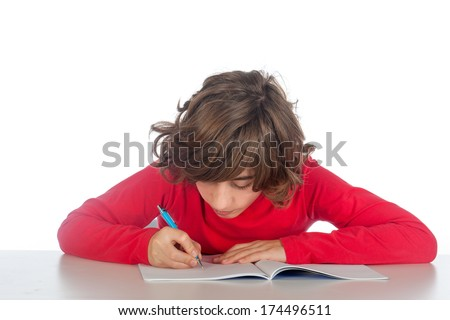a boy is making his homework, on a white background - stock photo
