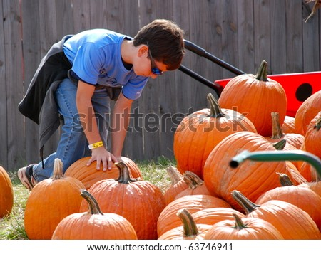 A boy picking out his pumpkin for halloween. - stock photo