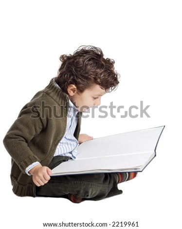 a boy reading to over a white back ground