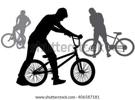 A boy rides a bicycle on a walk.  Silhouette on a white background. - stock photo