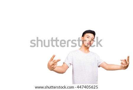 A boy showing his fingers makes obnoxious gesture