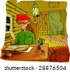 A boy sitting in a small dirty room at the table writing in a notebook with a pen (the same picture you can see in vector in my portfolio) - stock photo