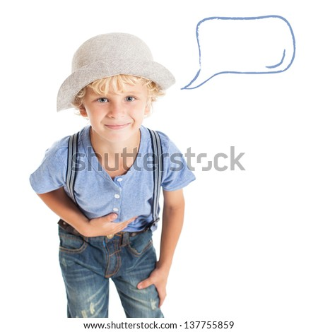 A boy wearing casual clothes and hat bowing. Nearby speech bubble. - stock photo