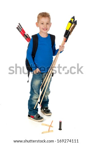 A boy who's to little with firework witch is too big on a white background - stock photo