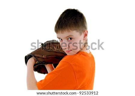 A boy with a baseball glove - stock photo