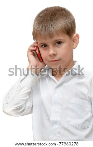 A boy with a cell phone. Isolated on white background - stock photo