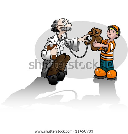 A boy with a teddy bear getting a check up from a doctor. - stock photo