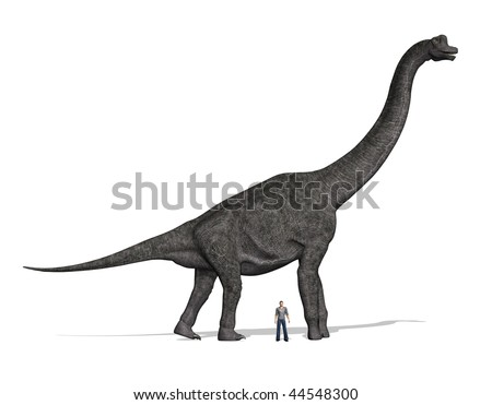 A Brachiosaurus dinosaur with a man standing nearby for size comparison. At 40 to 50 feet tall, that was one huge dinosaur!