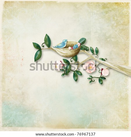 A branch of flowers on the background - stock photo