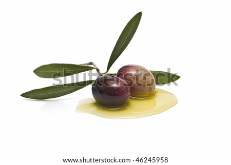 A branch with two olives.