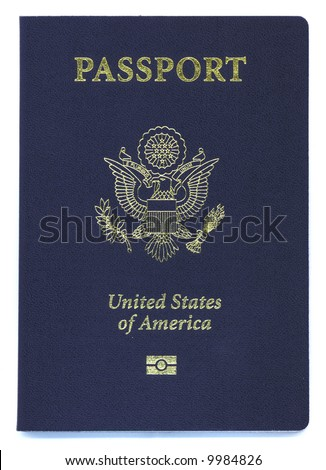 a brand new type US passport with ID chip - stock photo