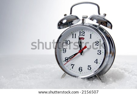 A brand new wind operated alarm clock - stock photo