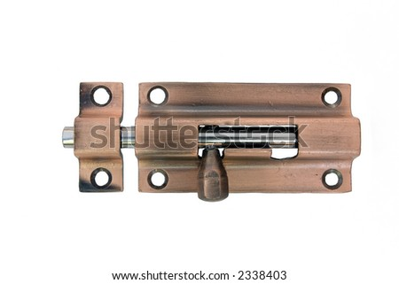 A brass latch. Clipping path included. No shadows. Perfect to place on doors to lock them. - stock photo