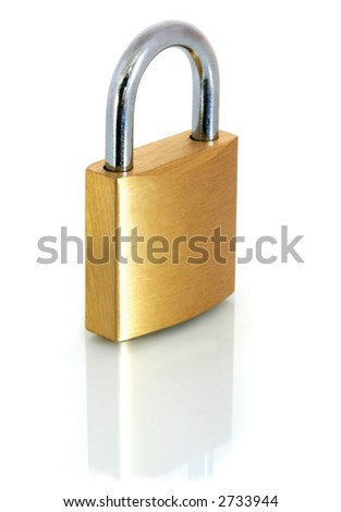 A brass padlock, reflected on a white surface.