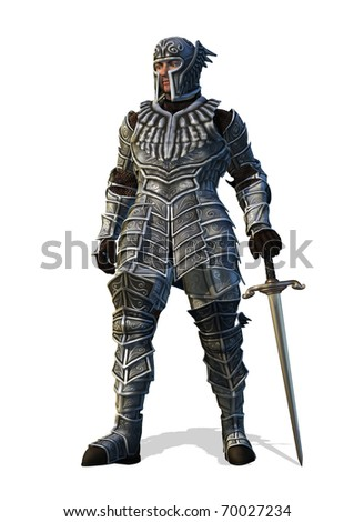 A brave knight stands with his sword - 3D render. - stock photo