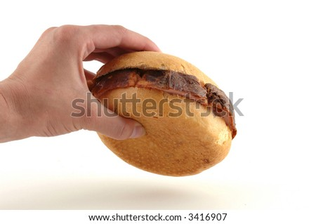 A bread roll with liver loaf is a typical bavarian breakfast