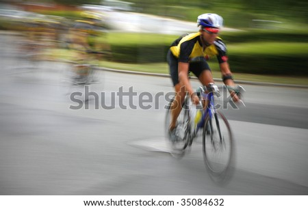 A breakaway in a professional cycling race. - stock photo