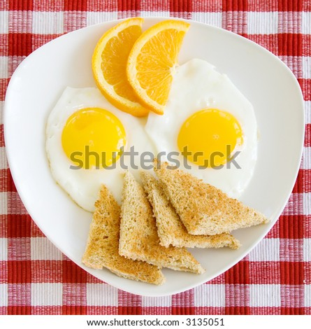 A breakfast plate of two sunny side up eggs, orange slices, and toast triangles. View of the whole plate.