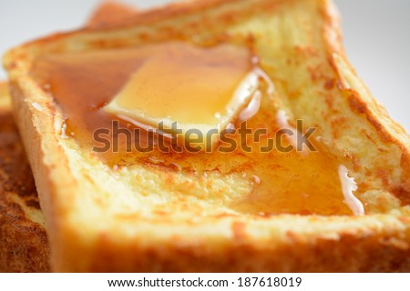 A breakfast setting of delicious french toast - stock photo