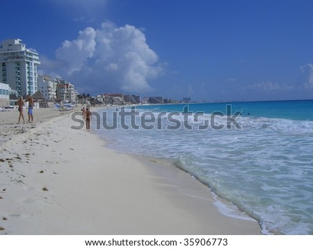 a breath taking view of a beach in cancun mexico