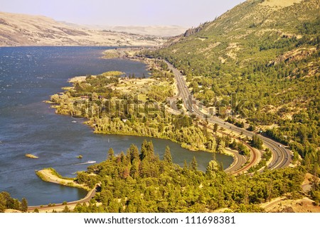 A breathtaking View from rowena crest overlook - stock photo