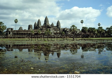 A breathtaking view of Angkor Wat, the biggest ruins of the world, in Cambodia - stock photo